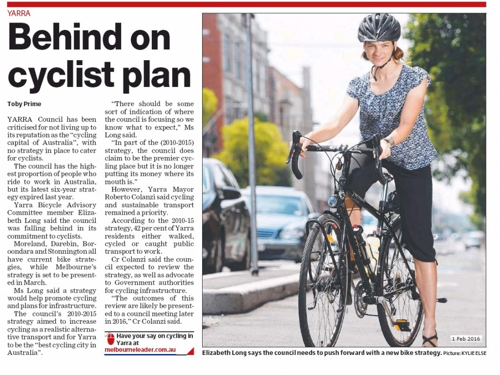 Yarra Bicycle Advisory Committee member Elizabeth Long wants the council to introduce a new bike strategy. Picture: Kylie Else