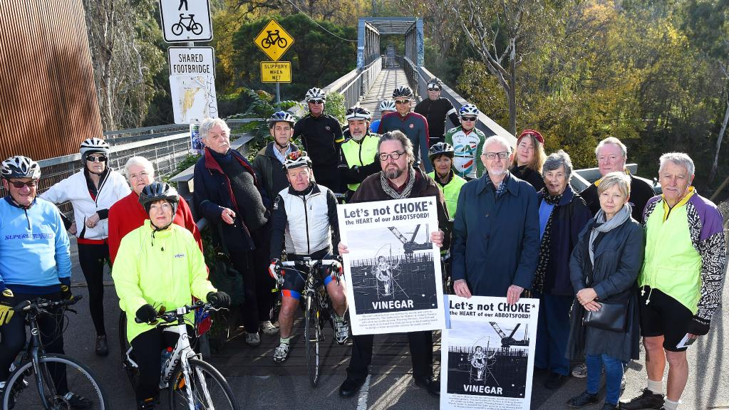 Cyclists say plans for twin multistorey towers in Abbotsford could threaten the connectivity of the Main Yarra Trail. Picture: Josie Hayden