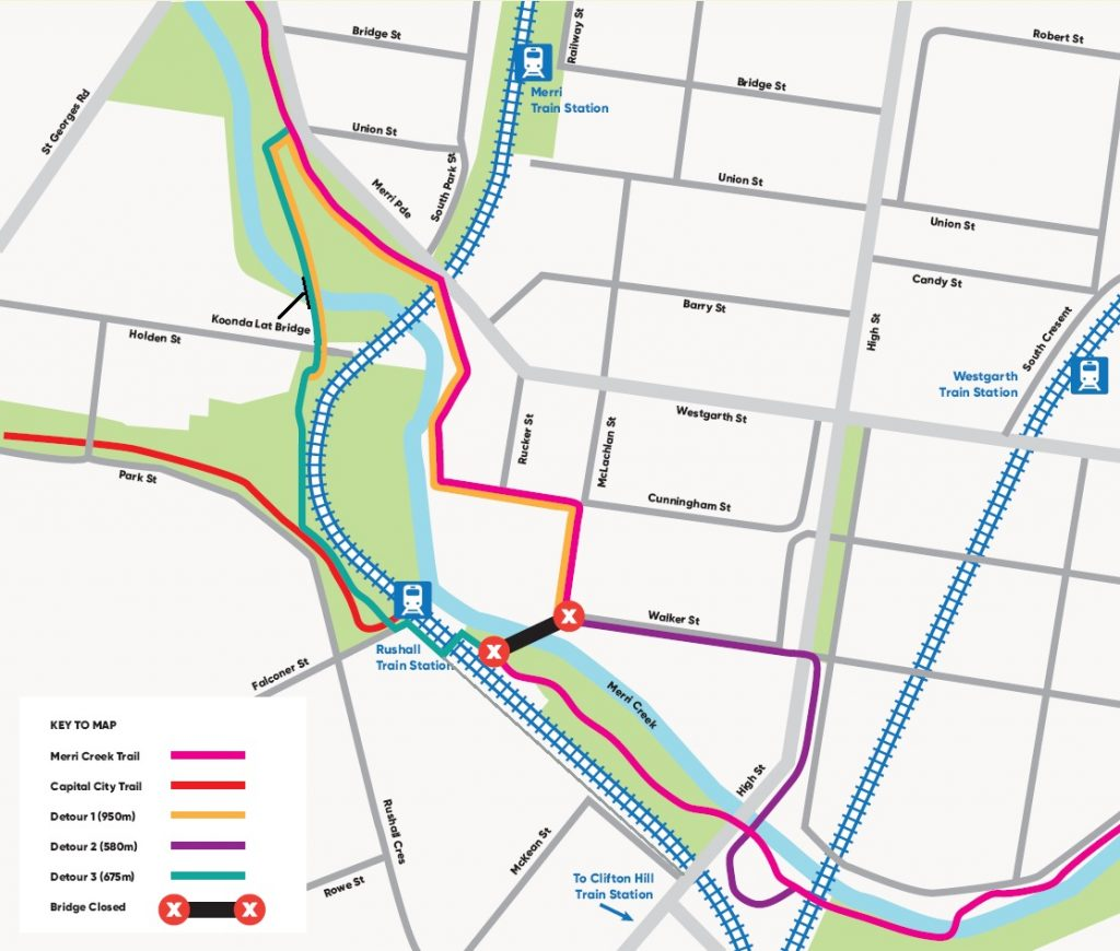 Detour map: Closure of Merri Creek Bridge at Walker Street to Rushall Station